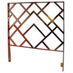 Milo Baughman Vintage King-Size Brass Chinese Chippendale DIA Headboard Bed