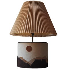 Suede 1970s Mountain-Scape Lamp