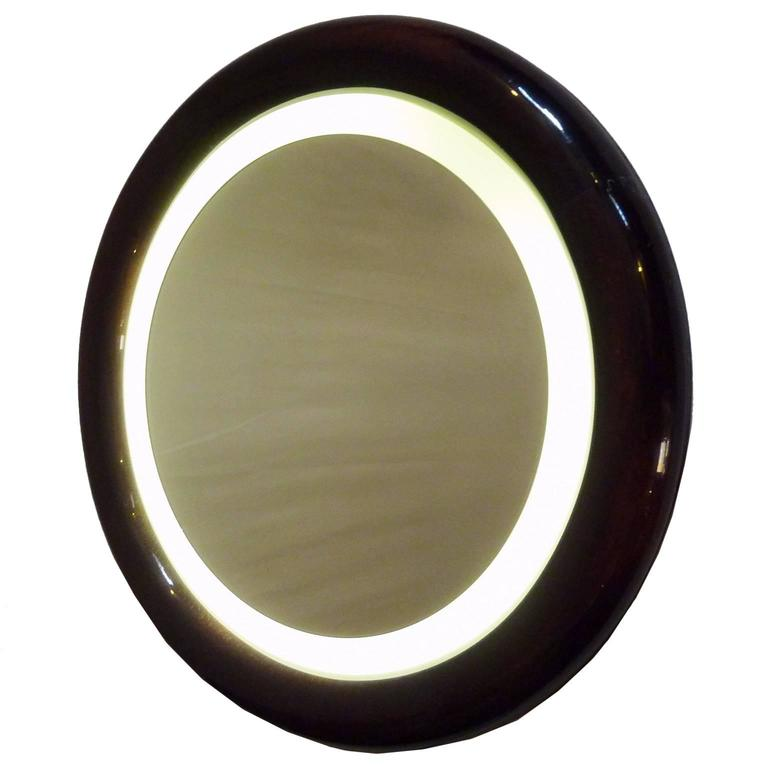 Round Backlit Mirror in Beechwood