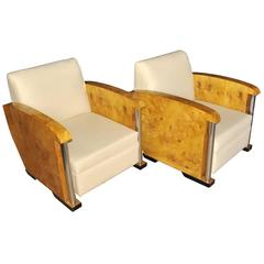 Pair of Art Deco Box Club Chairs Armchair Chrome