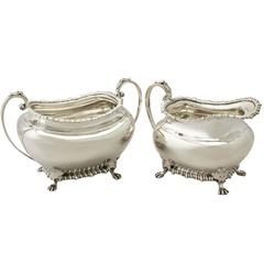 Antique Edwardian Sterling Silver Cream Jug / Creamer and Sugar Bowl