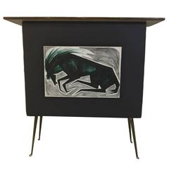 Unique Mid-Century Modern Bar with Painted Front