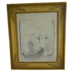 Lion Charcoal Drawing, Empire Gold Foil Frame