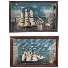 Two Superb 19th Century Naval Sailing Ship Dioramas