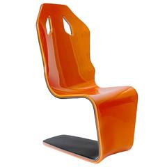 F1 Carbon Fiber Lounge Chair One of a Kind Artist Prototype Orange/Carbon Weave