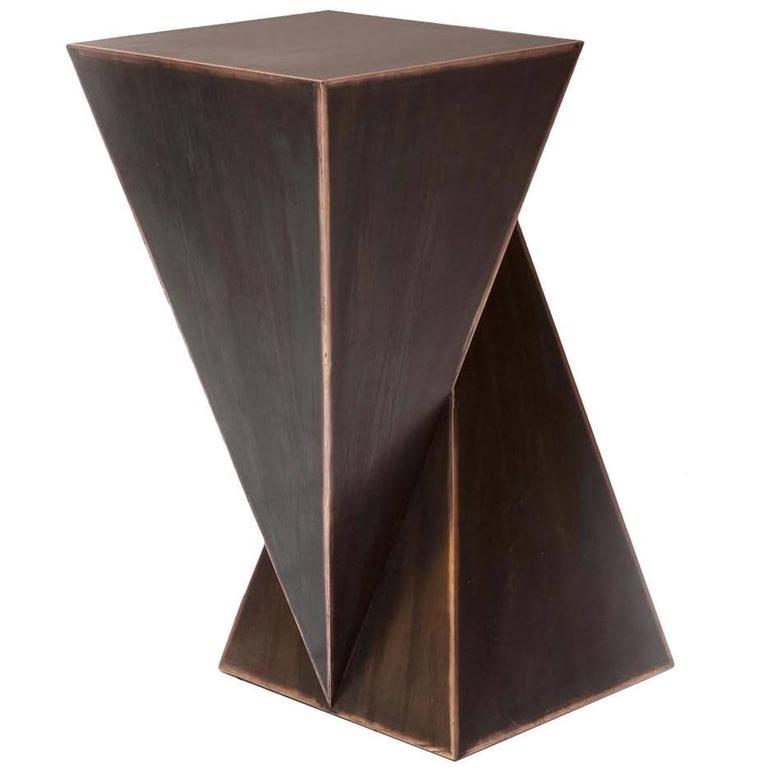 Mauro Mori Piramidone Fondente Geometric Italian Metal Side Table For Sale