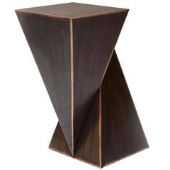 Mauro Mori Piramidone Fondente Geometric Italian Metal Side Table