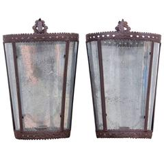 Pair of Mottled Mirror Back Wall Candle Lanterns