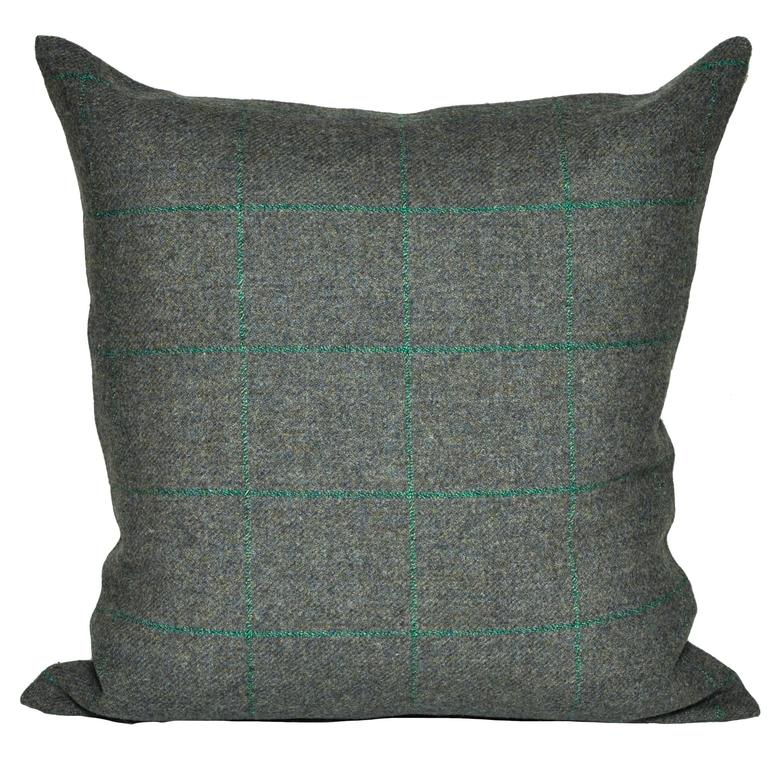 Vintage Green Donegal Plaid Tweed Irish Wool with Irish Linen Cushion Pillow For Sale