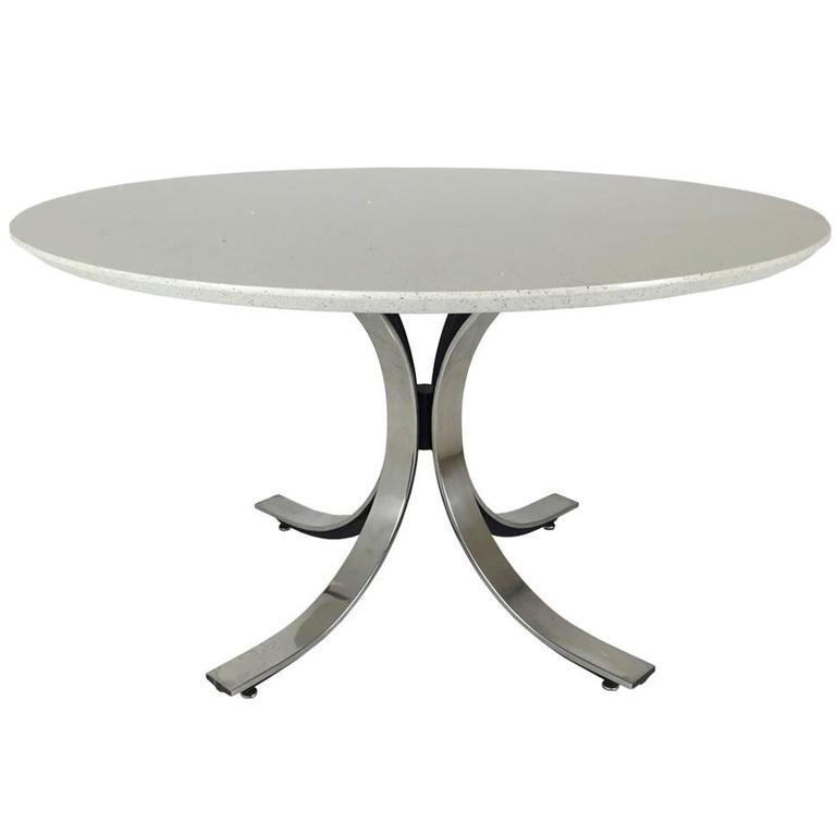 Four legged chrome base round dining table with white for Quartz top dining table