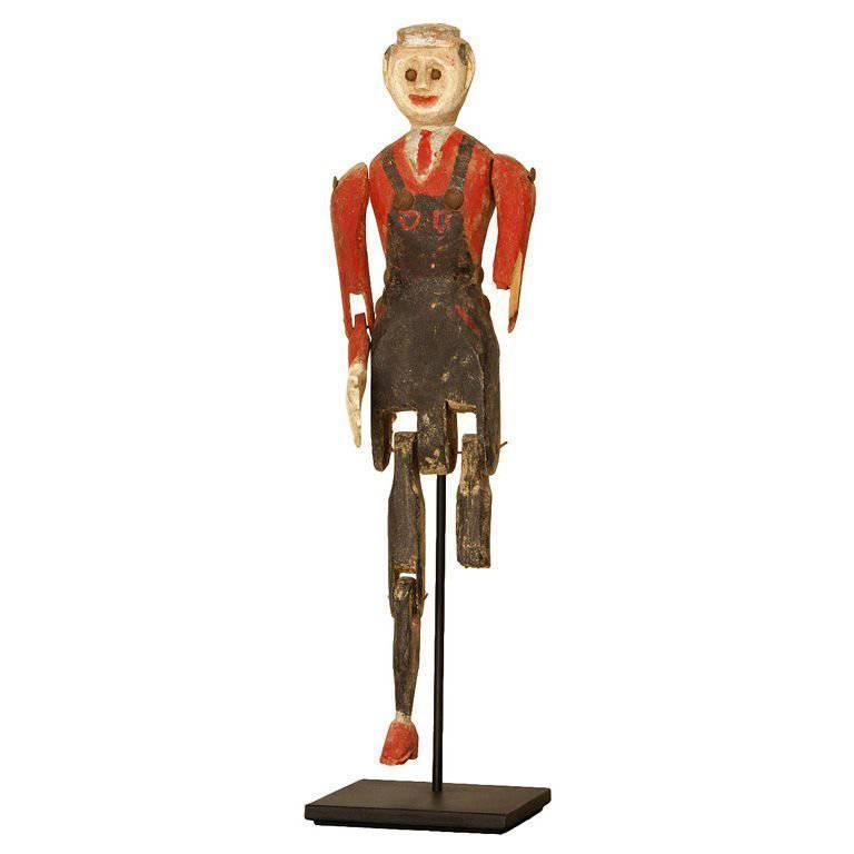 Late 19th Century Painted Articulated Figure with Overalls