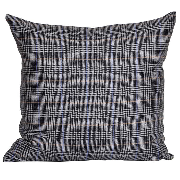 Vintage Blue Mustard Black Donegal Tweed Wool with Irish Linen Cushion Pillow