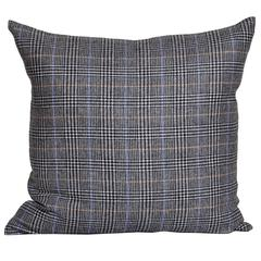 Vintage Blue Mustard Black Donegal Tweed Wool with Irish Linen Cushion Pillow