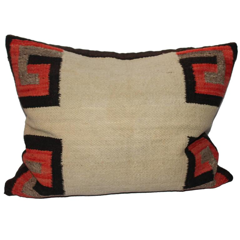 19th Century Navajo Saddle Blanket Weaving Pillow For Sale