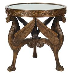 Swedish Grace Carved Beechwood Circular Occasional Table