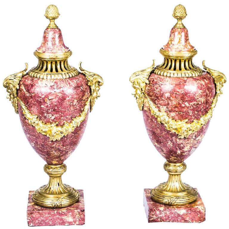 19th Century Pair of French Rouge Marble Urns Louis XV