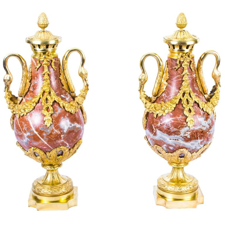 19th Century Pair of Louis XV French Rouge Marble Urns