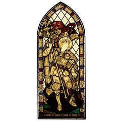 St George and the Dragon Hand-Painted Stained Glass Window