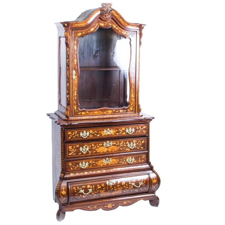 18th Century Dutch Marquetry Walnut Cabinet on Chest