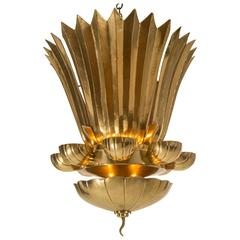 Lars Holmström, Monumental Swedish Hammered Brass Chandelier (2 of 2 Available)
