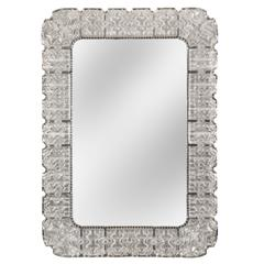 Carl Fagerlund for Orrefors, Large Swedish Textured Silvered Glass Frame Mirror