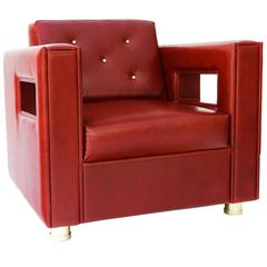 "Magnum Lounge Armchair ""One of a Kind in Oxblood and Polished Brass"""