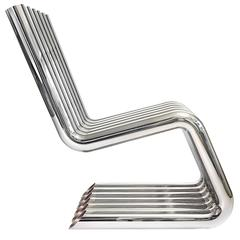 Xosted Lounge Sculptural Chair in Mirror Polished Stainless by Philip Caggiano