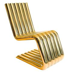 Xosted Lounge Chair One of a Kind 24-karat Gold-Plated over Stainless Steel