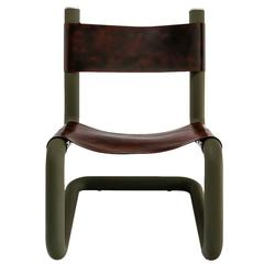Harley Leather Sling Lounge Chair in Matte Olive Green by Philip Caggiano