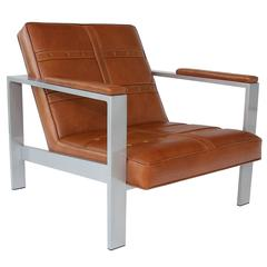"""Daytona Lounge Chair """"One of a Kind"""" in Whisky and Aluminum by Philip Caggiano"""