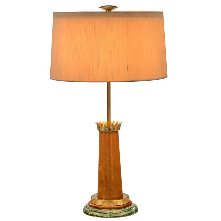 Fontana Arte, Rare Pearwood, Brass and Glass Table Lamp