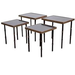 Set of Four Rare Jacques Adnet Nesting or Side Tables
