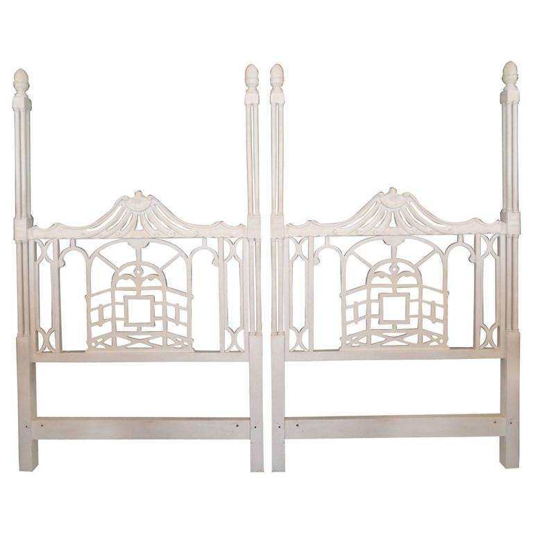 Paa Twin Headboards Vintage Pair Chinese Chippendale Hollywood Regency For