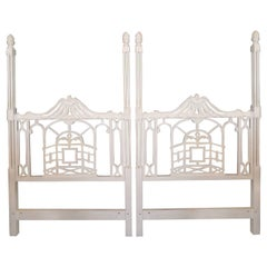Pagoda Twin Headboards Vintage Pair Chinese Chippendale Hollywood Regency