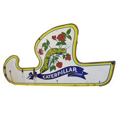 Porcelain Caterpillar Ride Sign from Riverview Amusement Park