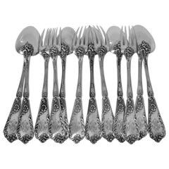 Lapeyre Gorgeous French Sterling Silver Dinner Flatware Set of 12 Pieces Rococo