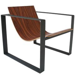Slyde Lounge Chair in Black and South American Rosewood Veneer