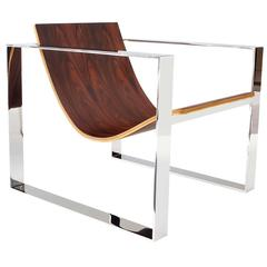 Slyde Lounge Chair in Polished Stainless Steel and Brazilian Rosewood