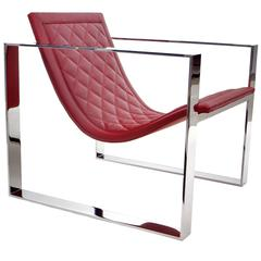 Slyde Lounge Chair in Polished Stainless and Bordeaux Quilted Leather