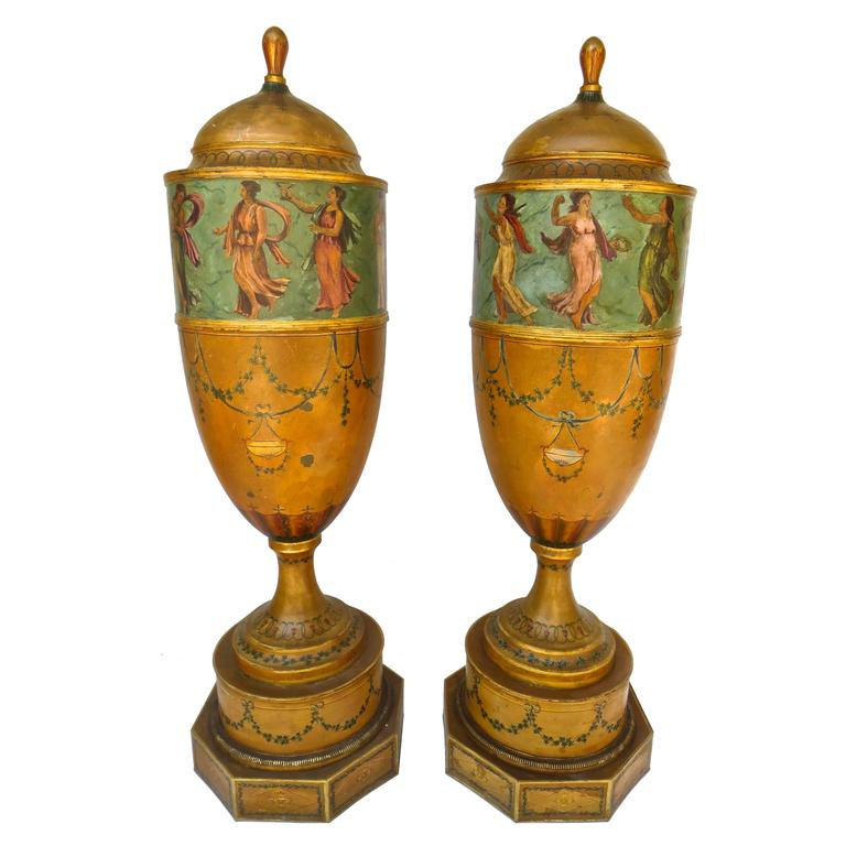 Pair of 19th Century Urns 'Japanned Tole and Copper' For Sale