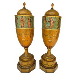 Pair of 19th Century Urns 'Japanned Tole and Copper'