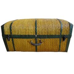 Large Vintage Rattan Dome Top Trunk with Original Metal Fittings