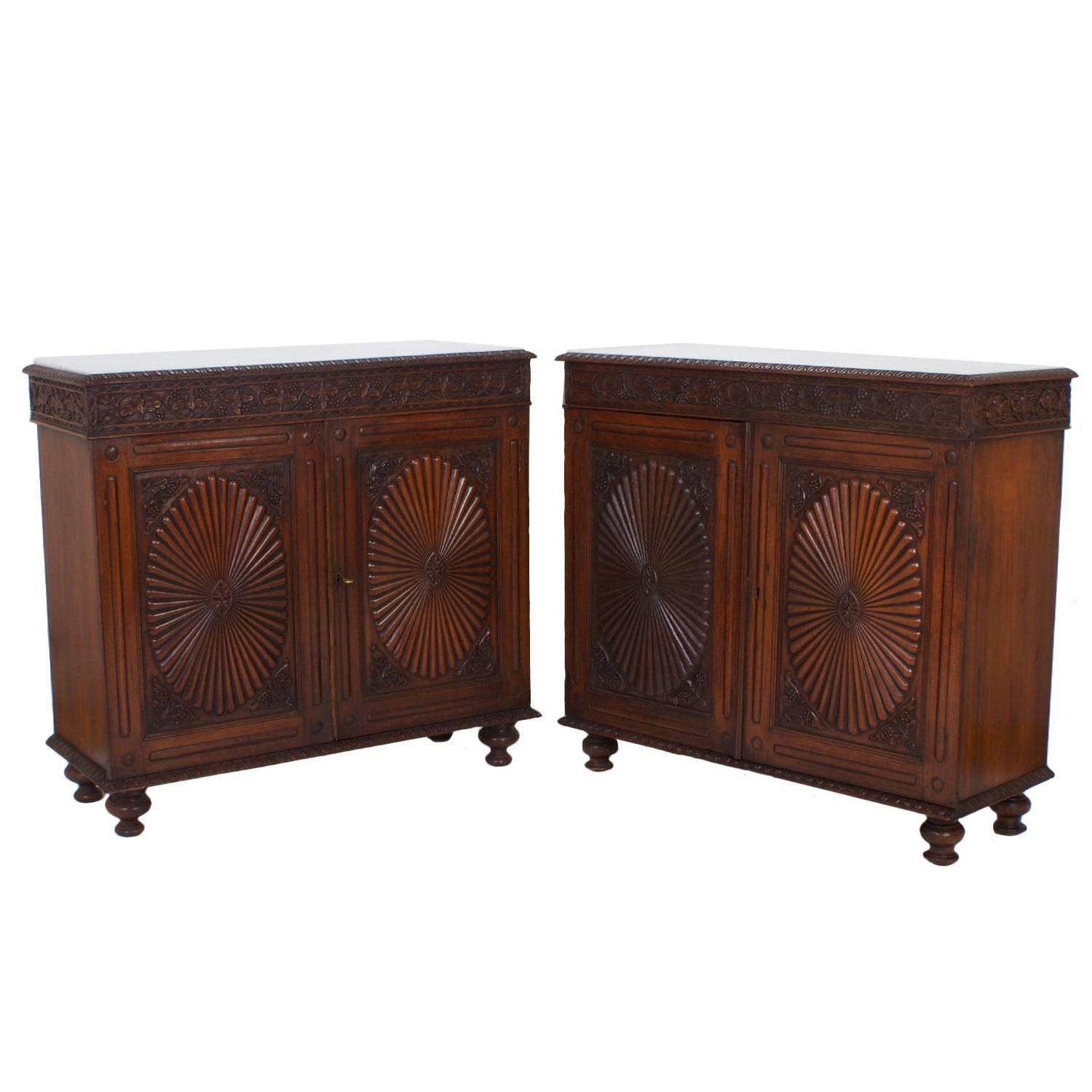 Pair of antique anglo indian marble top sideboards or for Carved kitchen cabinets