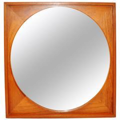 Teak Square Framed Round Mirror, Made in Denmark