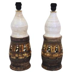 Georges Pelletier, Pair of Table Lamps, Glazed Ceramic, France, circa 1980