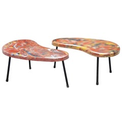 Pair of Kidney Shaped Tables, France, 1960
