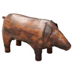 Dimitri Omersa Leather Pig Footstool for Abercrombie & Fitch, 1960