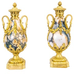 19th Century Pair of Louis XV French Carrara Marble Urns