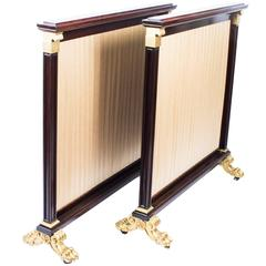 19th Century Pair of William IV Mahogany and Gilded Screens