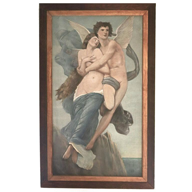 Antique Oil Painting of Legendary Lovers 'Eros (Cupid) and Psyche'